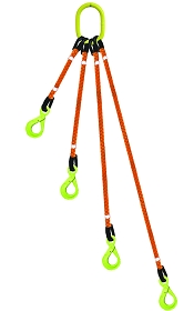 4 Legged Tool Lifting  Rope Sling w/Self-Locking Hooks
