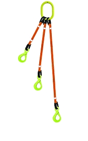 3-Legged Tool Lifting Rope Sling w/Self-Locking Hooks