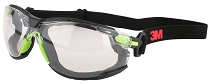 3M™ Solus™ Protective Eyewear 1000 Series, Foam, Strap, Green/Black, Scotchgard™ Anti-fog Lens