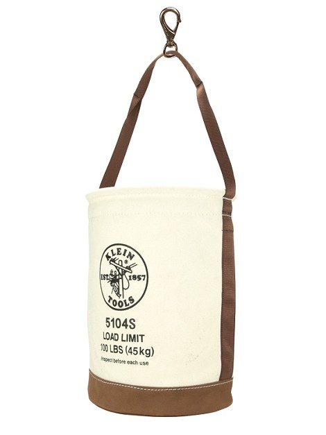Canvas Bucket w/Leather Bottom, Klein (12'' width x 17'' height)