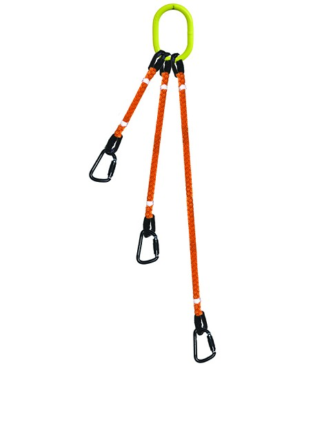 3-Legged Tool Lifting Rope Sling w/Carabiners