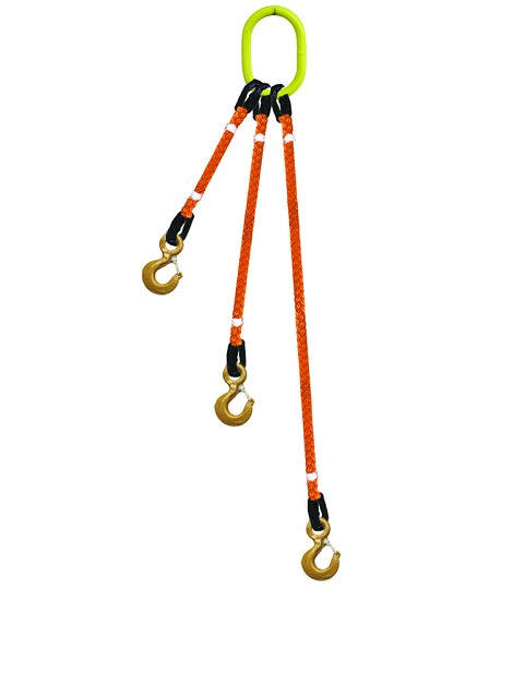 3-Legged Tool Lifting Rope Sling w/Crosby® Hooks