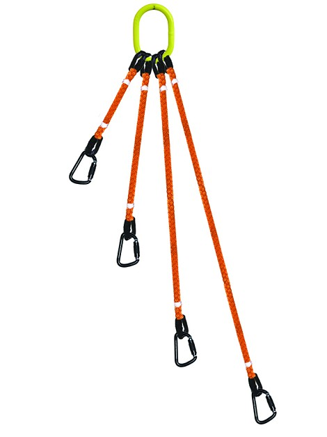 4 Legged Tool Lifting  Rope Sling w/Carabiners